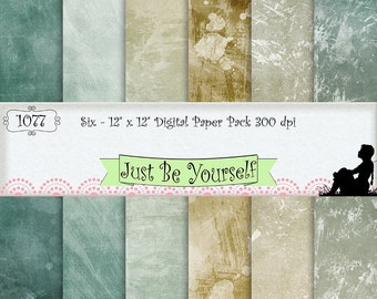 12 x 12 inch Grungy Beach Hues Teal Beige and Gesso Digital Scrapbook Papers Instant Download Set of 6 Prints JPEG Commercial Use 1077