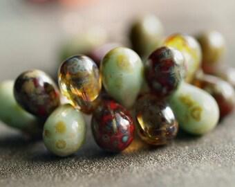 Picasso Mix Czech Glass Bead 9x6mm Teardrop : Full 25 pc Strand Picasso Teardrop Mix