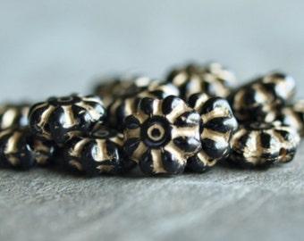 Czech Glass Bead Jet Gold 9mm Daisy Flower  :  25 pc Black Gold Flower