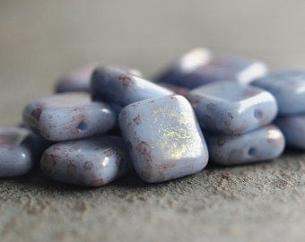 Czech Glass Bead Wisteria 9mm Square Bead :  25 pc Pink Blue Violet Bead