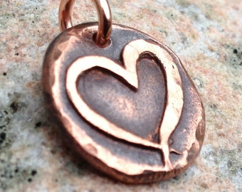Copper Open Heart Pendant or Charm, Rustic Heart Jewelry, hammered texture, gift for her