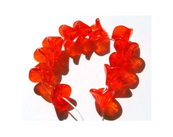 Orange Flower Beads Czech Glass 3 Petal Trumpet Lily Spring Summer