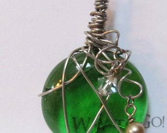 Green seaglass hand wired pendant