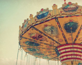 Swings: fine art photograph print of carnival ride with vintage-inspired texture (yellow, blue, red carnival wall art)