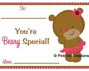 Printable Valentine BEARY SPECIAL Kids Valentine Card - GIRL - Instant Download