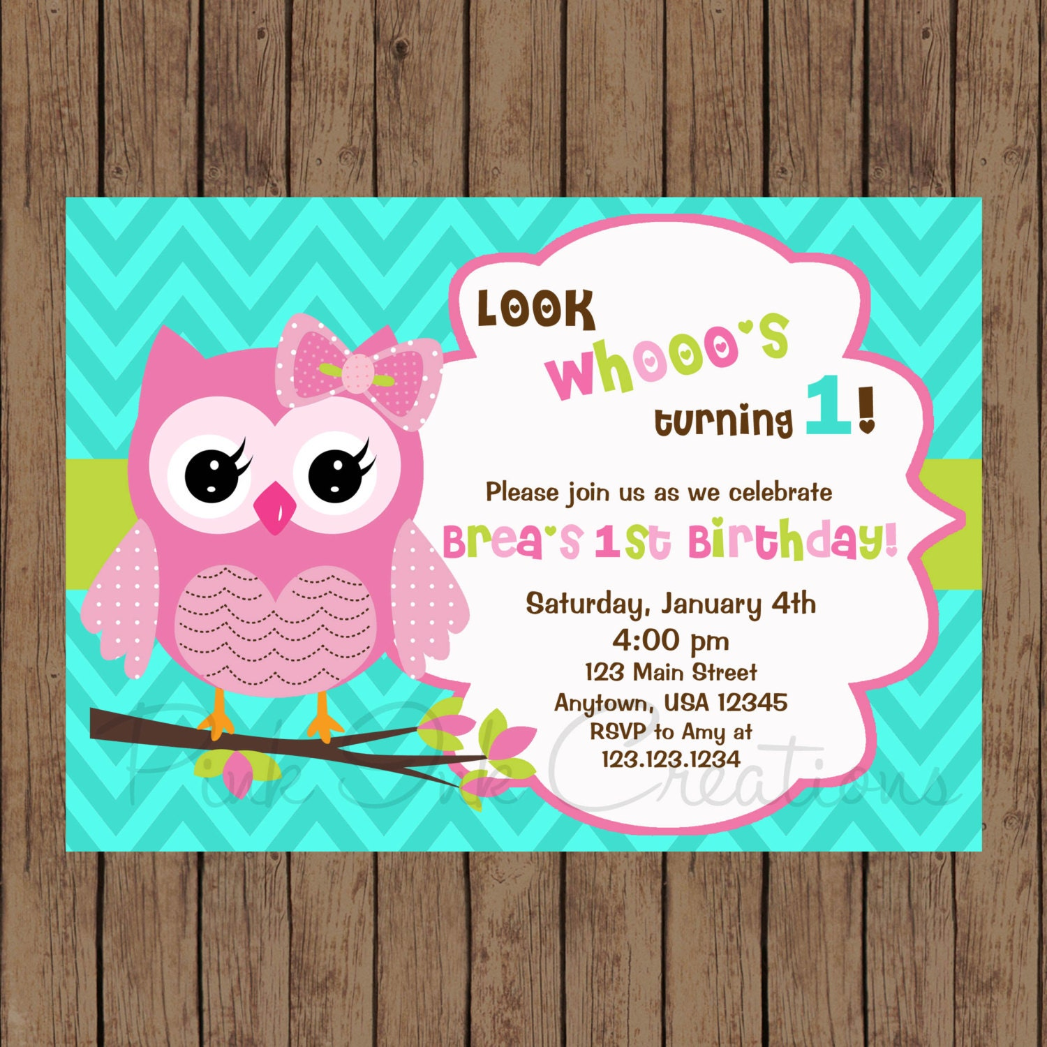 Owl Birthday Invitation / Owl Baby Shower Invitation