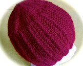 Lady's Hat, Hand Knit, Cranberry, One Size Fits Most