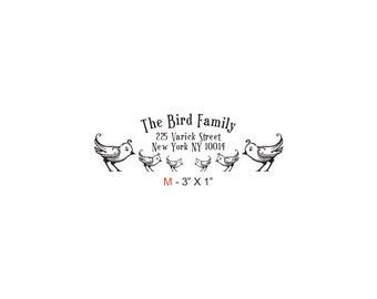 Birdies Family Return Address Custom Rubber Stamp Birdie M