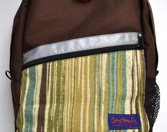 Kids Backpack - Coffee/stripe