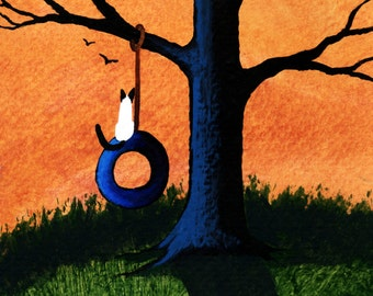 Siamese Cat outsider folk art print by Todd Young Tire Swing
