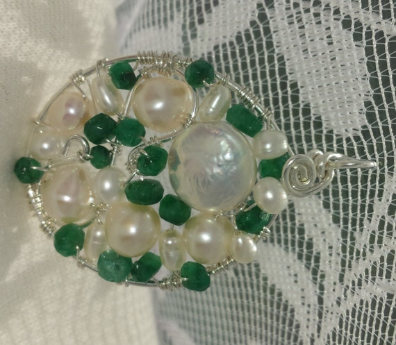 Wire wrapped Sterling silver one-of-a-kind Emerald & Pearl Round Pendant