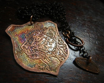 Etched copper Cheetah pendant   One of a kind Etched Menagerie victorian art jewelry
