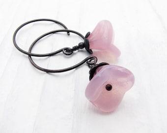 pink earrings, dangle earrings, flower earrings, pink flower earrings, bridesmaid earrings, wedding jewelry, bridal earrings garden inspired