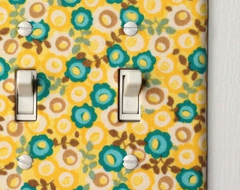 Double Standard Light Switch Plate Cover - yellow and blue flowers