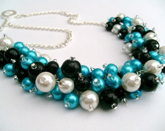 Turquoise White and Black Beaded Necklace, Blue Bridesmaid Jewelry, Cluster Necklace, Chunky Necklace, Bridesmaid Gift, Bridesmaid Necklace
