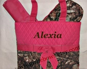 Personalized Quilted Diaper Bag Set Hot Pink and Brown Camouflage Camo - MONOGRAMMED FREE - By Girliebows