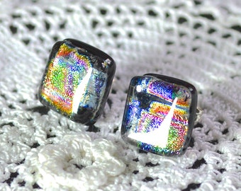 Fused Dichroic Glass on Sterling Silver Post Stud Earrings - Iridescent Rainbow Pattern- 12mm