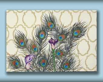Peacock Art Painting...Deep Callas on Peacock...HUGE Abstract Contemporary Modern Art Diptych Metallic Painting by HD Greer