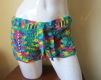 psychdelic crochet shorts, beach cover up,  shorts, festival clothing, gypsy, boho,  music festival shorts, Boho shorts, Hippie shorts