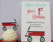 Little Red Wagon Birthday Party Invitations - Boy or Girl Birthday Theme Set of 12 - Any Age or color - Baby Shower Invitations Vintage Toys