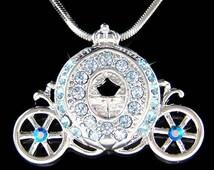 Swarovski Crystal Blue Princess Cinderella Pumpkin Bridal Carriage Pendant Necklace Jewelry Christmas Birthday Best Friend Gift