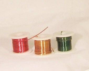 Wire, spools, 3, red, green, gold, 5 yards, 24gauge, C, destash