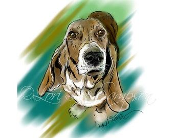 Digital Download Dog Art: Basset Hound Digital Painting, Pet Art, Animal Art, Printable Dog Portrait, Teal Green Brown