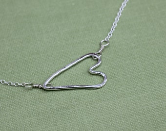 Hammered Heart Necklace; Delicate Silver Heart Necklace