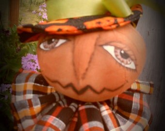 Primitive Fall Pumpkin Head doll Mrs. Gourdon INSTANT DOWNLOAD PATTERN #147 Hafair Faap
