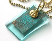 Aquamarine Glass and Etched Metal - Necklace - Patinated Copper - Spirals -  Smiling Sun - Patinated  Media Jewelry