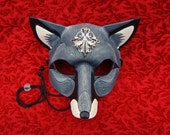 Regal Fox Mask With Victorian Silver... handmade original leather mask fox mask  mardi gras mask