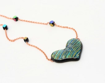 Heart Shaped Iridescent Dichroic Fused Glass Necklace Mixed Media Copper Chain and metallic glass Beads