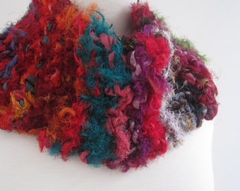 "red green collar, striped scarf, rainbow neckpiece, sari ribbon scarf, rainbow collar, striped collar ""spectrum"""