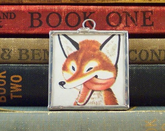 Red Fox Pendant - Vintage Book Charm - Soldered Glass Pendant - Book Charm - Wily Fox - Red Fox Charm - Fox Necklace