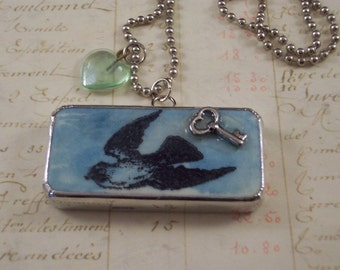 Love Bird Charm Necklace - Key To My Heart Mixed Media Necklace - Blue Bird Soldered Domino Charm - Anniversary Gift - Altered Game Piece