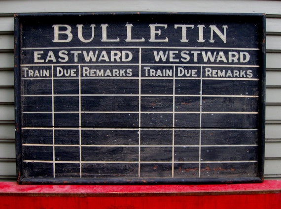 best early 20th century hand painted train station schedule sign trade handmade black white art deco 1920s