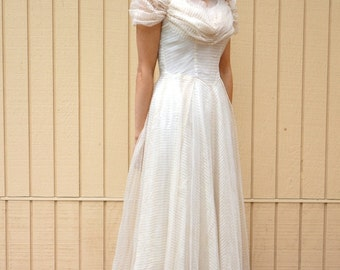 Vintage 40s party dress/ Ivory with gold stripes/ XS/ S/