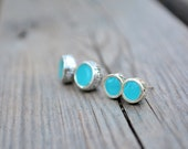 Tiny Studs - Mother daughter jewelry set  - turquoise green - Everyday Earrings - Childrens Jewelry - Gift idea - 1001ArtBeads