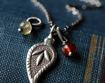 Custom Sterling Silver Paisley Charm Necklace - HARVEST