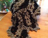 Gray and Black Ruffly Scarf