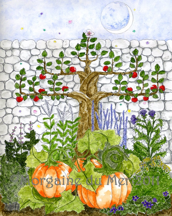 Fall Harvest Magickal Garden Fantasy Art Old Word Plant Lore Botanical Print Apple Tree Pumpkins Herbs