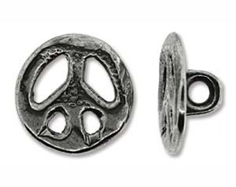 Button Antique Silver Full Metal Peace 15mm (2) 30139