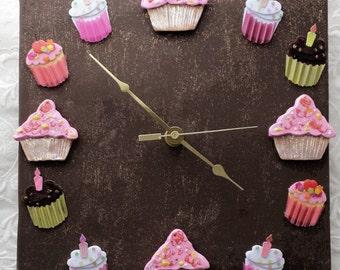 Cupcake Clock Ceramic Chocolate cupcake home decor trendy home decor