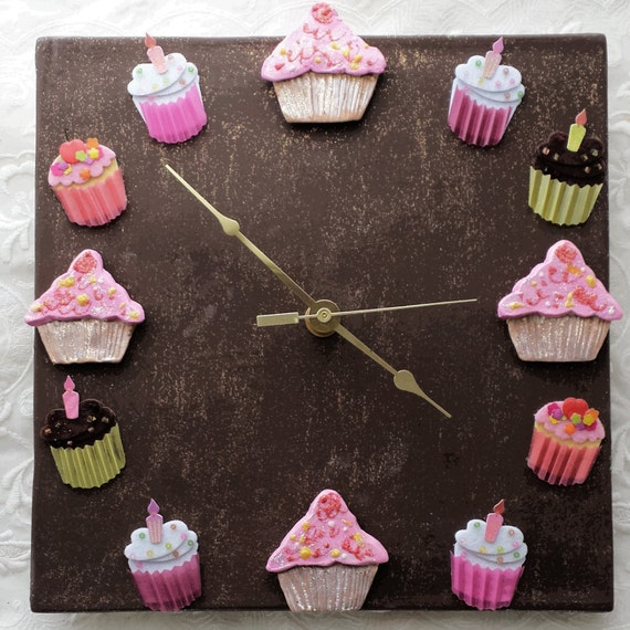 Cupcake Kitchen Decor: Items Similar To Cupcake Clock Ceramic Chocolate Cupcake