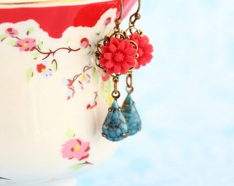 Red and Blue Earrings - Flower Earrings - Red and Turquoise Earrings - Dangle Earrings - Floral Accessories - Valentines Gift