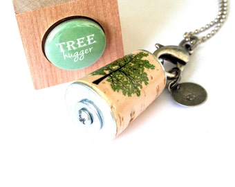 Tree Hugger Necklace - Green Tree Necklace, Summer Tree, Sister, Bloom, Stamped Custom Initial Charm, Cork in Test Tube and Cube - Uncorked