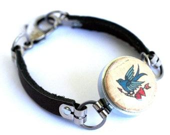 Sparrow Bracelet - Vintage Tattoo, Leather Bracelet, Eco Friendly, Wine Cork Jewelry, Steel Bracelet, Pirate Bracelet, Recycled - Uncorked