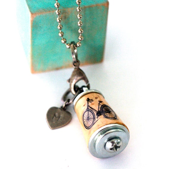 Bike Necklace - Recycled Cork in Test Tube - Custom Stamped Initial Charm - Vintage Bicycle Jewelry by Uncorked