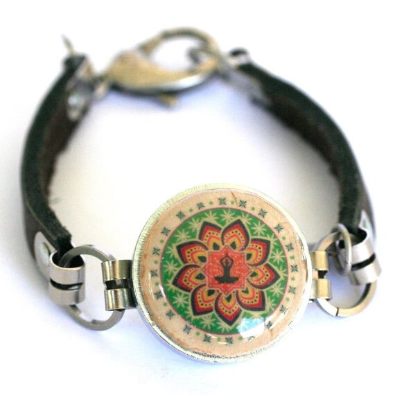 Meditation Bracelet - Meditation Jewelry, Wine Cork Jewelry, Modern Buddha, Mandala Bracelet, Leather Bracelet, Custom, Recycled - Uncorked