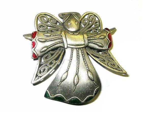 Vintage JJ Angel Brooch Pin Silver Metal Red and Green Enamel